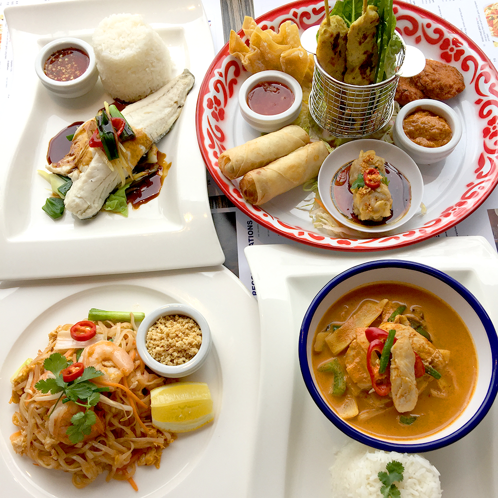 Combination of four Thai dishes