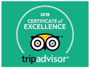 We've been awarded a certificate of excellence from Trip Advisor
